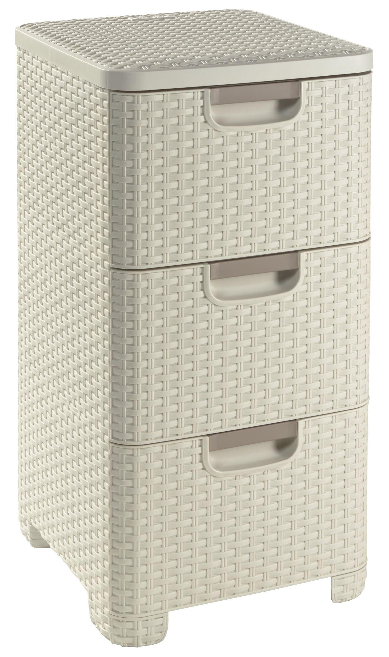 Zásuvka 3x 14l RATTAN Style - krémová