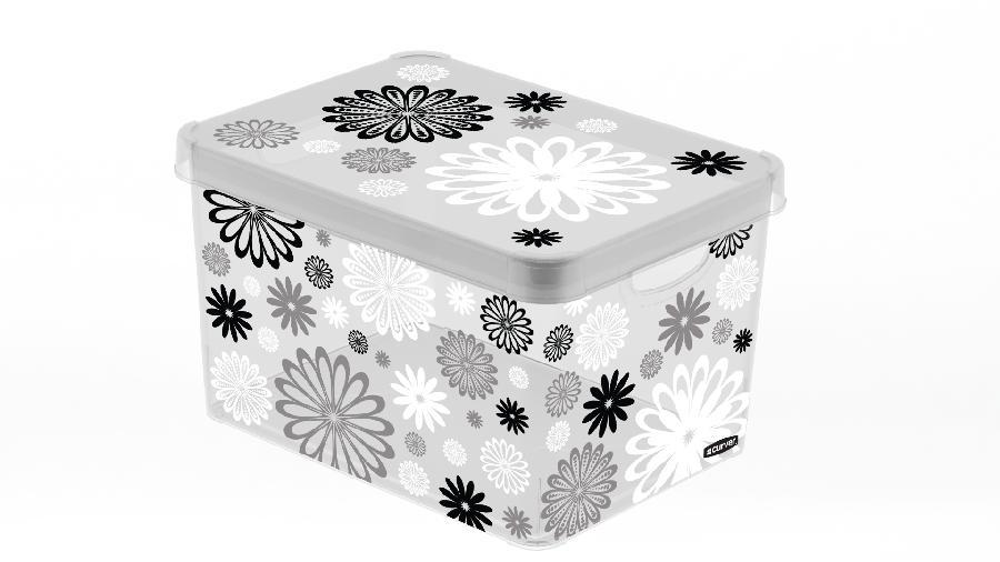 Dekorativní box L MILKY - BLACK DAISY