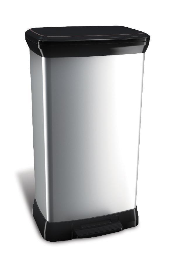 Curver DECOBIN pedal odpadkový koš 50l stříbrný 02162-582