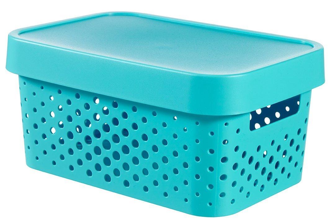 Úložný box INFINITY 4,5l s víkem modrý puntíky 04760-X34