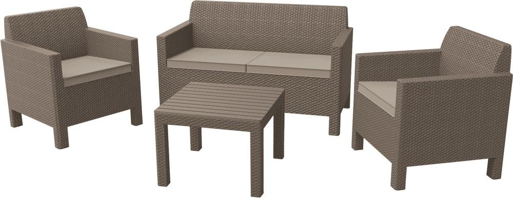 Zahradní souprava ORLANDO + malý stolek, cappuccino 226528
