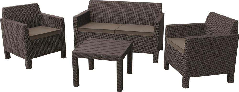 Allibert Zahradní souprava ORLANDO + malý stolek, hnědá 228017