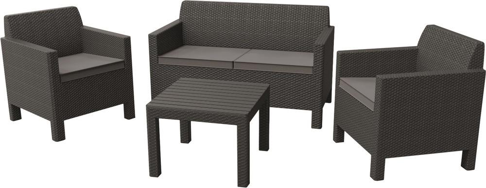 Zahradní souprava ORLANDO + malý stolek, šedá 226515