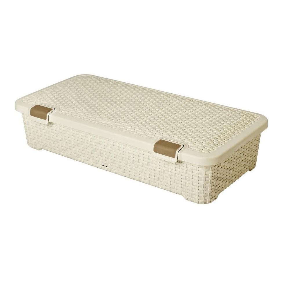 Curver RATTAN úložný box pod postel 42 l - krémový 01704-885